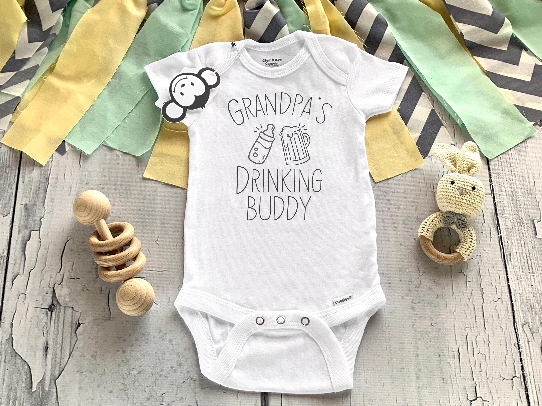 Grandpa Drinking Buddy Baby Onesie Shirt Shower Gift Newborn Clothes Gerber