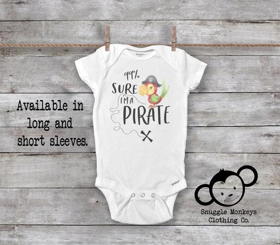 Pirates and Parrots Smalls Baby Onesie,Infant Bodysuit Black
