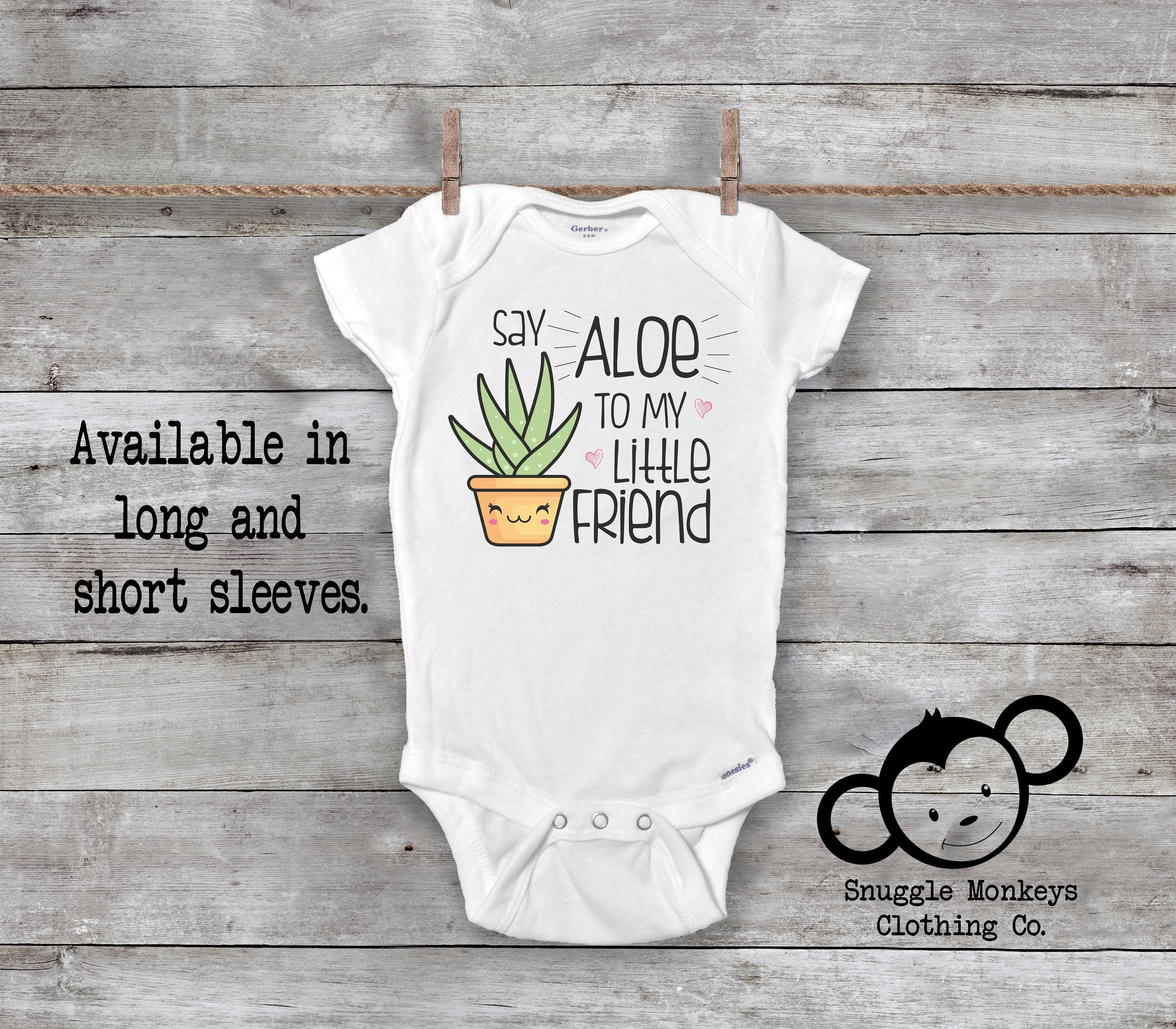 65b7c13be Funny Baby Onesie®, Say Aloe To My Little Friend, Baby Shower Gift, Funny Baby  Clothes, Funny Baby Gift, Plant Onesie, Unique Baby Gift
