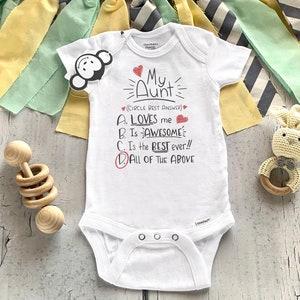 new aunt bodysuit aunt baby gift Hello auntie bodysuit baby shower gift pregnancy reveal to aunt Aunt bodysuit Hey Auntie onesie