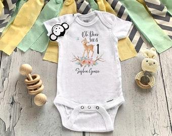 First Birthday Onesie®,  Deer First Birthday Onesie®, Personalized First Birthday Outfit, Deer Onesie® Girl, Baby Girl Clothes, Oh Deer