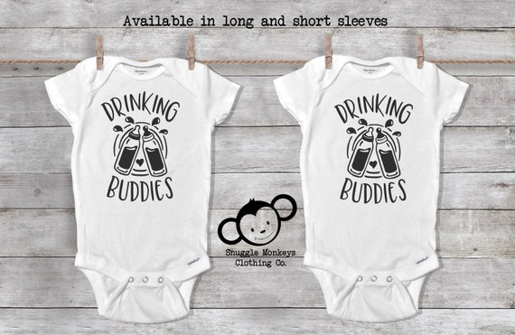 Drinking Buddies Onesie®, Twin Baby Gift, Twin Onesies®, Twin Baby Shower,  Twin Baby Clothes, Double the Love, Cute Twin Outfit