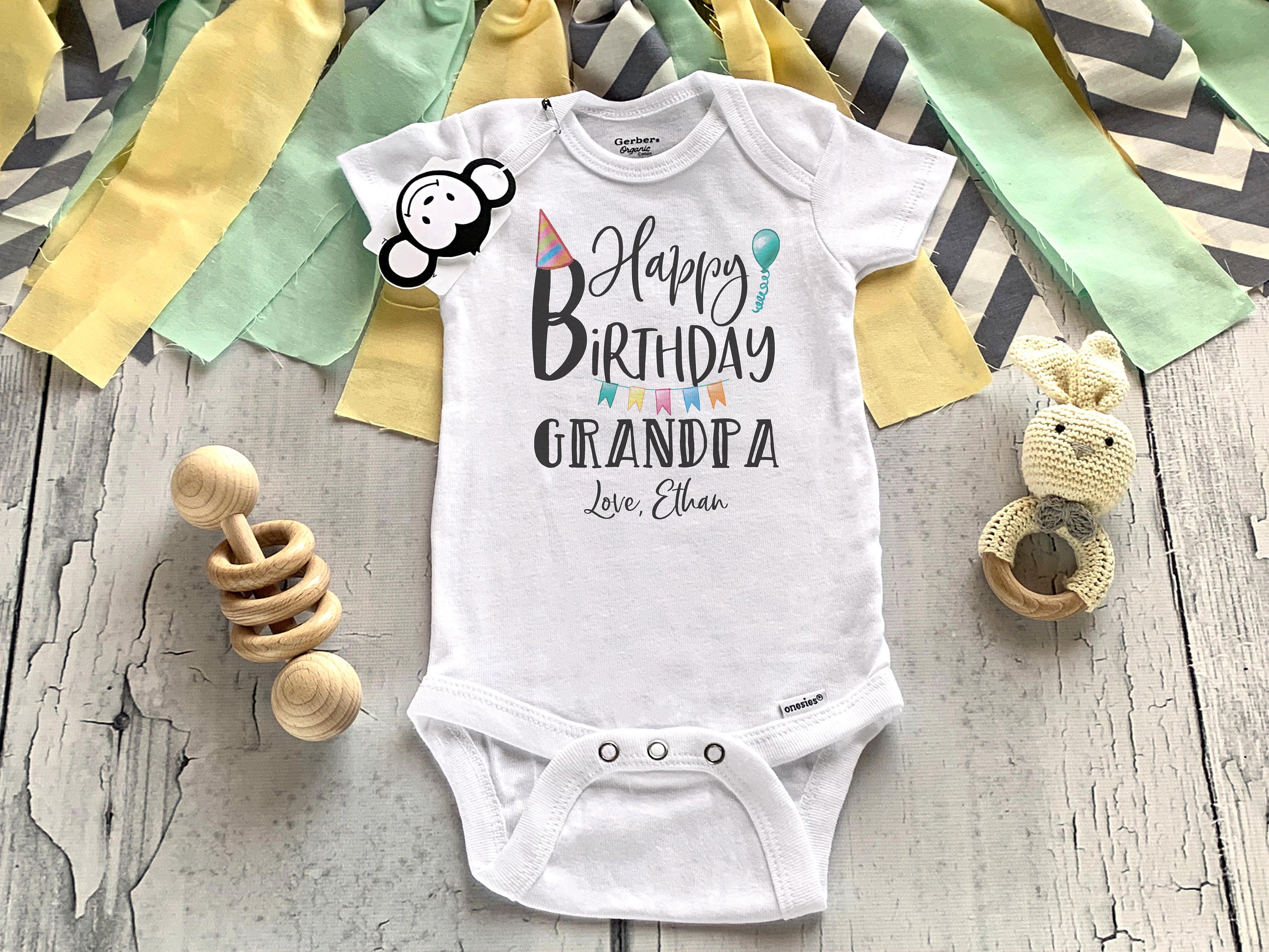 Gift from Baby to Grandpa Personalized Birthday bodysuit for Grandpa Personalized Happy Birthday Grandpa Onesie\u00ae with Name