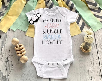 Aunt and Uncle Onesie®, My Aunt and Uncle Love Me,  Aunt and Uncle Pregnancy Announcement, Baby Shower Gift, Unisex Baby Clothes