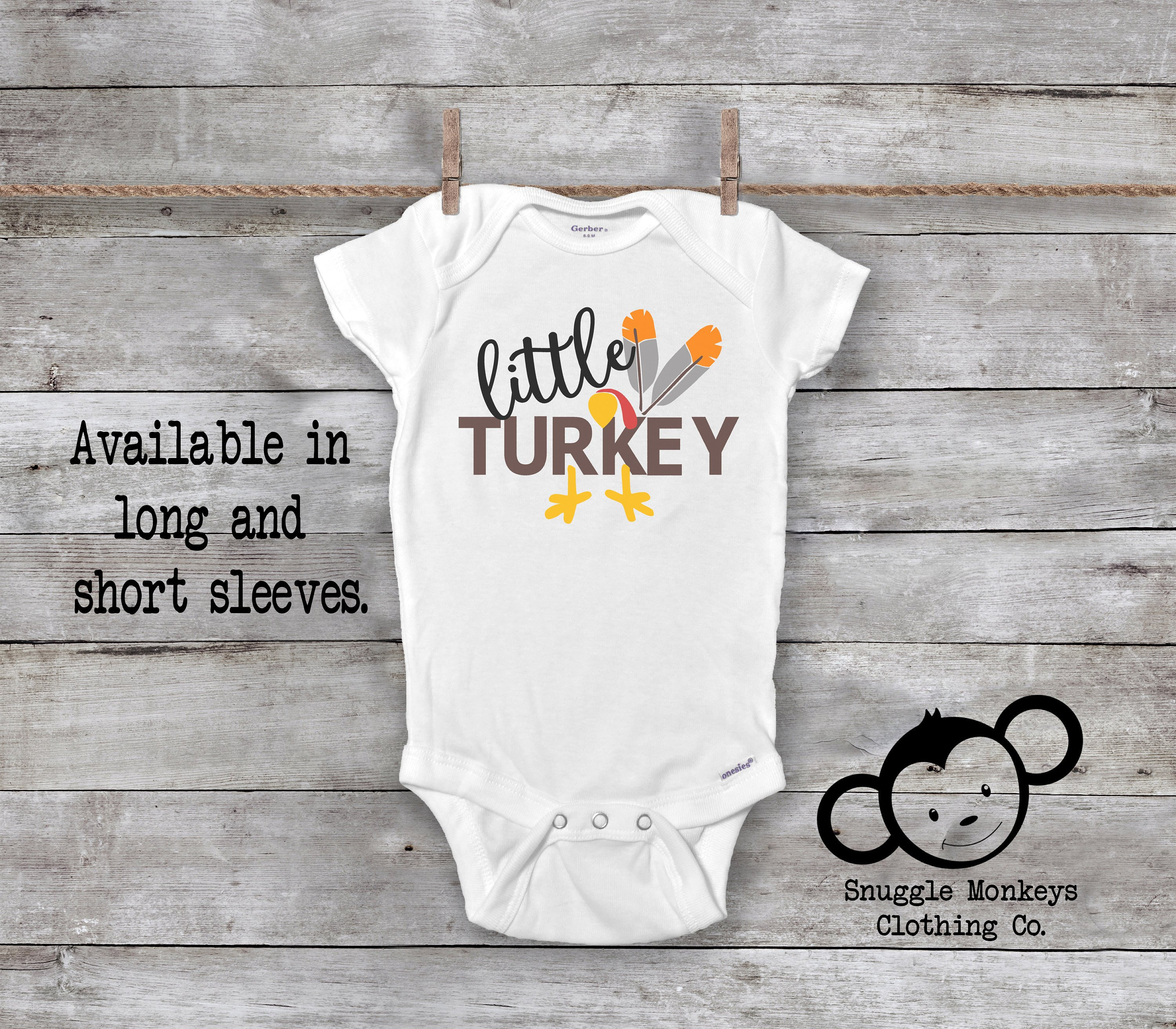 0f5e846ad Little Turkey Onesie® Thanksgiving Onesie® Gobble til you | Etsy