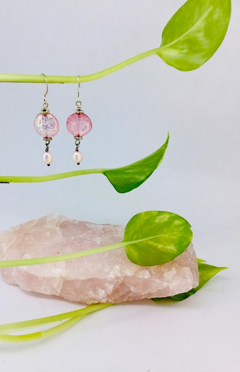 Pink Aura Glass Pearl Drops.