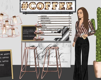 Coffee Addict Clipart Set, Fashion Girls, Coffee Shop Inside, Coffee Clipart
