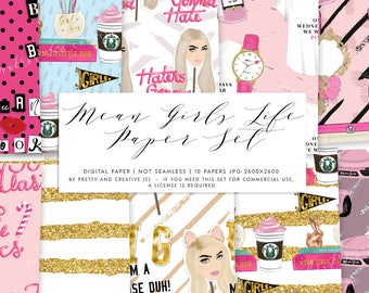 Mean Girls Life Digital Paper Set, Pink Digital Papers, Fashion Digital Papers, Glitter Digital Papers,