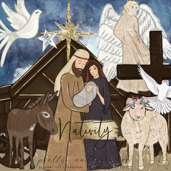 Religious Christmas Images.Nativity Clipart Religious Christmas Jesus Clipart Star Clipart Nativity Wreath Christmas Clipart Nativity Scene Christian Clipart