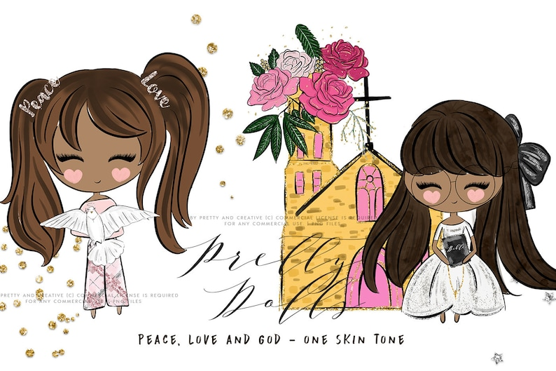 Christian Clipart Pretty Dolls Angel Doll Peace And Love Etsy
