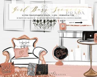 Girl Boss Scenery Clip Art,Fashion Clipart, Planner Girl, Glam Scenery, Rose Gold Clipart,