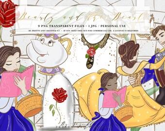 Beauty And The Beast Clipart Set, Clip Art, Princess, Belle, Movie, Romantic, Fashion, Fairytale Clip Art