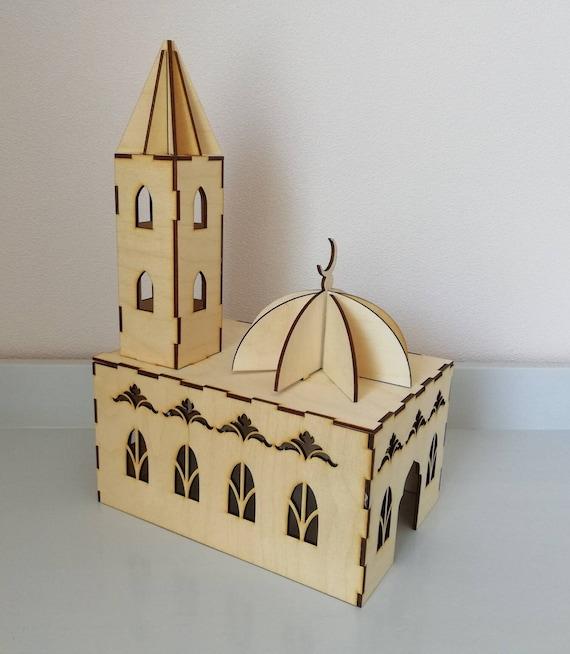 Mosquée en bois découpée au laser, puzzle 3d musulman, jouets islamiques, mosquée en bois 3d, jeux d'enfants musulmans, mosquée de DIY, jeux islamiques, mosquée 3d