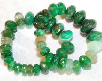 Green genuine agate beaded bracelet. Women's
