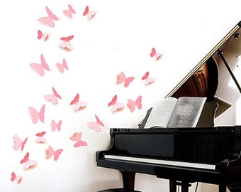 Wall Stickers, 3D Pink Butterflies Wall Art, Wall Mural, Bedroom Decor,  Living Room Decor, Home And Living, Decals And Murals, Wall Decal