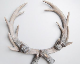 Elk Antler Mount | Faux Taxidermy | Modern Wall Mount | Farmhouse Decor | Rustic Wall Decor | Faux Animal Head | Faux Deer Head