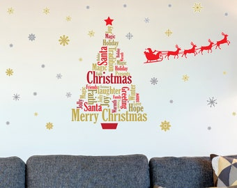 large christmas wall decal kit christmas home decor festive home decor wall decal decals and murals christmas party home decor decal - Christmas Wall Decal