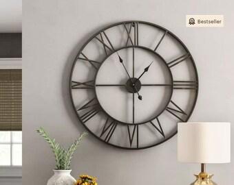 Large Roman Numeral Wall Clock | Iron Wall Clock | Living Room Decor |  Christmas Gift | Rustic Wall Clock | Unique Wall Clock | Metal Clock