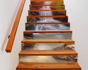 Rainforest Waterfall Stair Decals | PVC Stair Stickers | Tile Staircase  Mural | Removable Stickers | Stair Riser Decals | DIY Art Mural