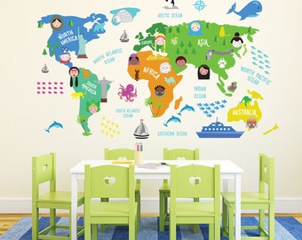 Map wall decal etsy colorful world map wall sticker nursery room decor map wall decal kids room decor wall art mural diy accent bedroom decoration gumiabroncs Images