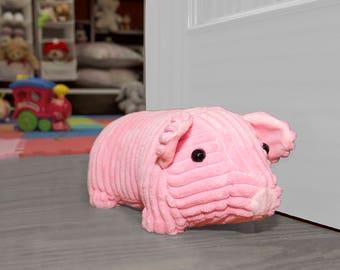 Pink Pig Door Stopper/ Pink Door Stop/ Animal Theme Nursery Decor/ Kids  Playroom Decoration/ Stuffed Pig Doorstop/ Stuffed Piggy