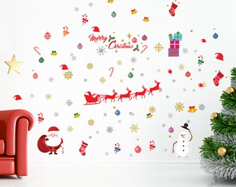 magnificent bright and colourful christmas wall decal set christmas home decor festive decorations decals and murals wall stickers - Christmas Wall Decal