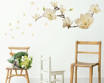 Flower wall stickers etsy white magnolia wall sticker set white flower room dcor nature theme room decor floral wall accent statement art mightylinksfo