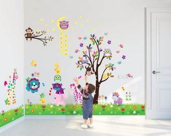 Safari Animal Mural | Animal Wall Decals | Vinyl Wall Stickers | Animal  Nursery Decor | Jungle Animals Wall Decal | Kids Wall Decals