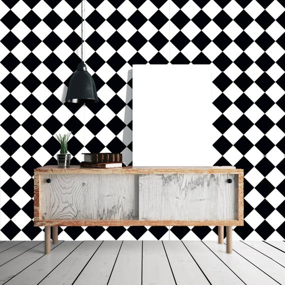 walplus wall sticker decoration decal black white tile pattern | etsy