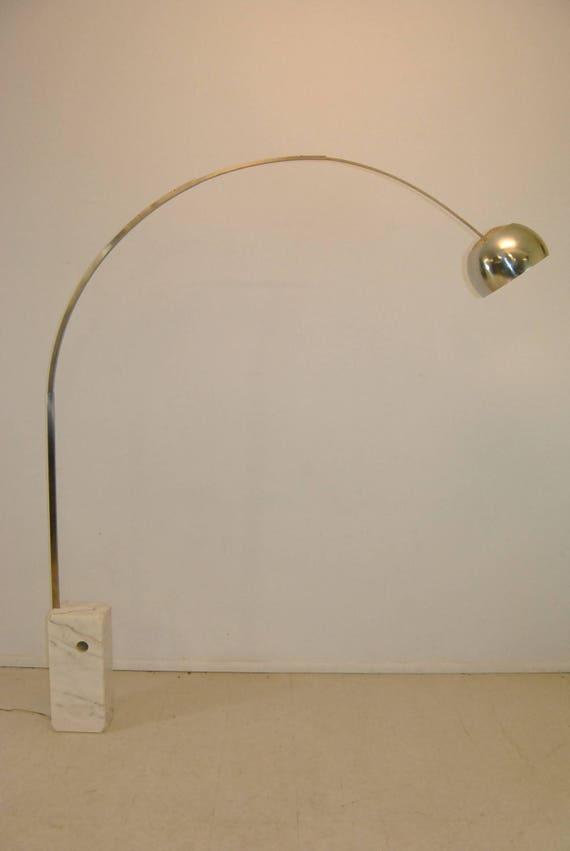 Mid Century Modern Arc Style Floor Lamp With Marble Base