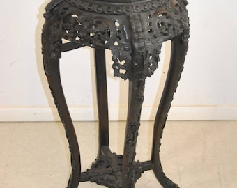 Asian Carved Teak with Soapstone Plant Stand with 4 Legs and Round Top