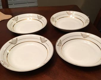 Vintage King Quality - Set of 4 Soup Bowls - 22 Kt Gold - Made in USA