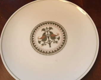 Noritake Hermitage Set of 6 Salad Plates - Made in Japan - Birds and Flower - Green Pen Stripe Band