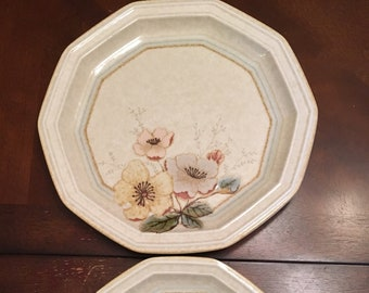 Miksa Avante Firenze ( 1 Dinner Plate and 1 Salad Plate 10 Sides Pink and Yellow Flowers Beige Ivory Plate Stoneware