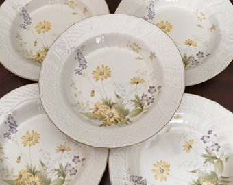 Mikasa Fine Ivory Spring Meadow Large Rim Soup Bowls Set of 5 Yellow and Lavender Flowers
