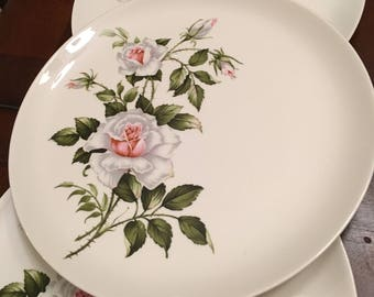 Crooksville Dinner Rose Dinner Plates (Set of 6)White with Pink Rose Green Leaves Made in USA