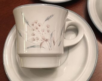 Noritake Woodstock Cup and Saucer (set of 4)  Primastone Gray & Taupe Wild Grasses