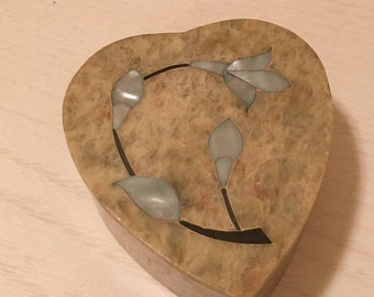 Soapstone Heart Shaped Trinket Box - Mother of Pearl Flower on Lid