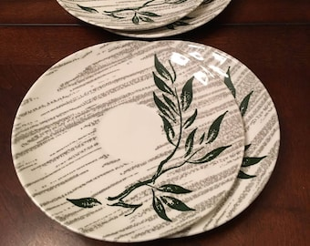 Royal C 55 Underglaze Set of 4 Saucers - Green Branch / Limb with Leaves and Gray Stripes in the Background