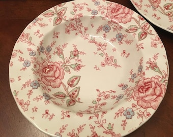 Rose Chintz Set of 4 Soup Bowls Made in England