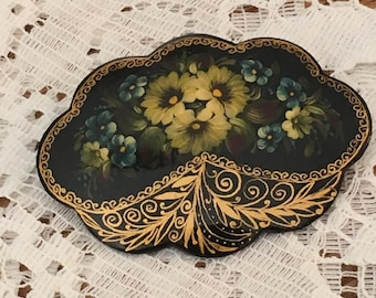 Russia Julia 96 Hand Painted Lacquer Brooch / Pin - Black with Yellow and Blue Flowers