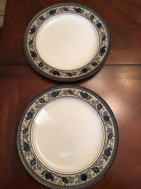 Mikasa Intaglio Arabella Set of 2 Dinner Plates Blue Green