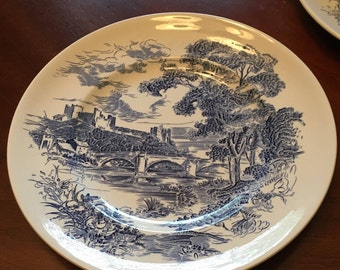 "Enoch Wedgwood ""Countryside"" Set of 4 Dinner Plates - Made in England - English Scene"