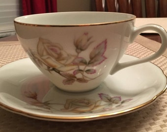 Ucagco Oxford Rose Cup and Saucer - Ucagco China Japan Oxford Rose - Vintage