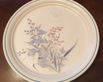 Vintage Noritake Keltcraft Kilkee Dinner Plates - Set of 5 - Made in 1981 - 1995 - Blue and Pink Plants Butterfly