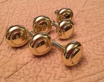 Gold Tone Cabinet Knobs - Drawer Pulls - Hardware - Set of 6 - Shiny Finish