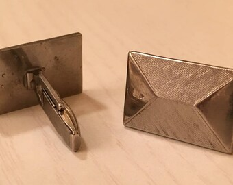 Vintage Brushed Silver Tone Cuff Links / Cufflinks - Rectangle - the ends are shiny and middle is brushed muted silver tone