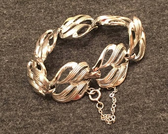 Coro Silver Tone Panel Bracelet with Safety Chain