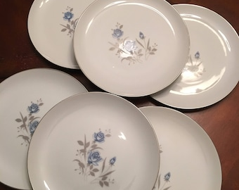 Royal Taunton - Blue Rose Set of 6 Dinner Plates - Blue Roses Gray Leaves