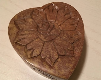 Soapstone Heart Shaped Trinket Box - Rose carved on the lid and carvings on the sides